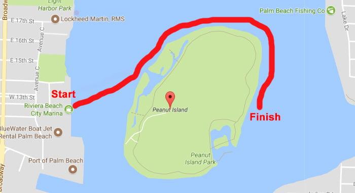 Peanut Island Paddle Route
