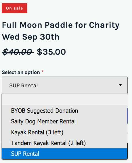 Full Moon Paddle pricing